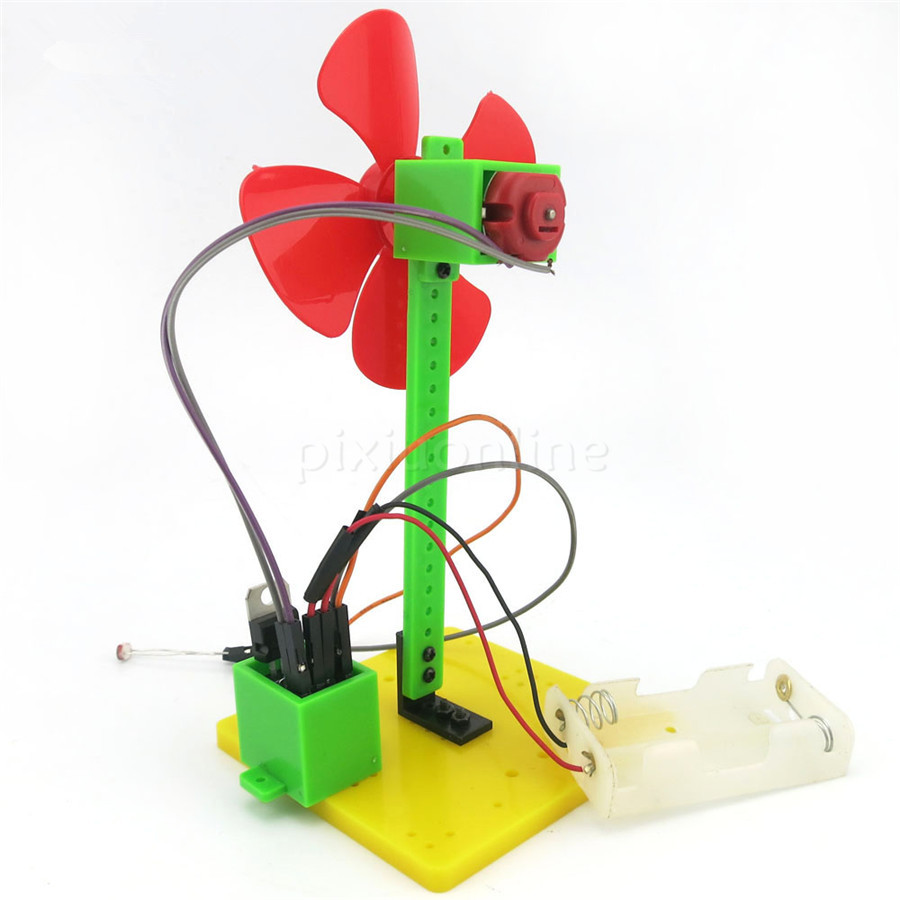 DIY Model Making J471 Light-dependent Control Small Fan with Photo Resistance Technology Little Making Free Shipping Russia diy toy car j473b model 7575 n20 gear motor intelligent model car diy assemble small car technology making free shipping russia
