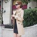 2014 nova primavera outono mulheres casaco médio-longo faixas trenchcoat mulheres magras casual vestido casaco para mulheres