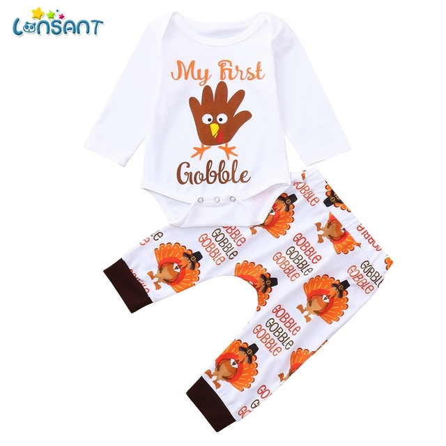 7303182ca LONSANT 2018 Baby Boy Girl Thanksgiving Day Clothes Set Letter Print Turkey  Romper Jumpsuit+Pants