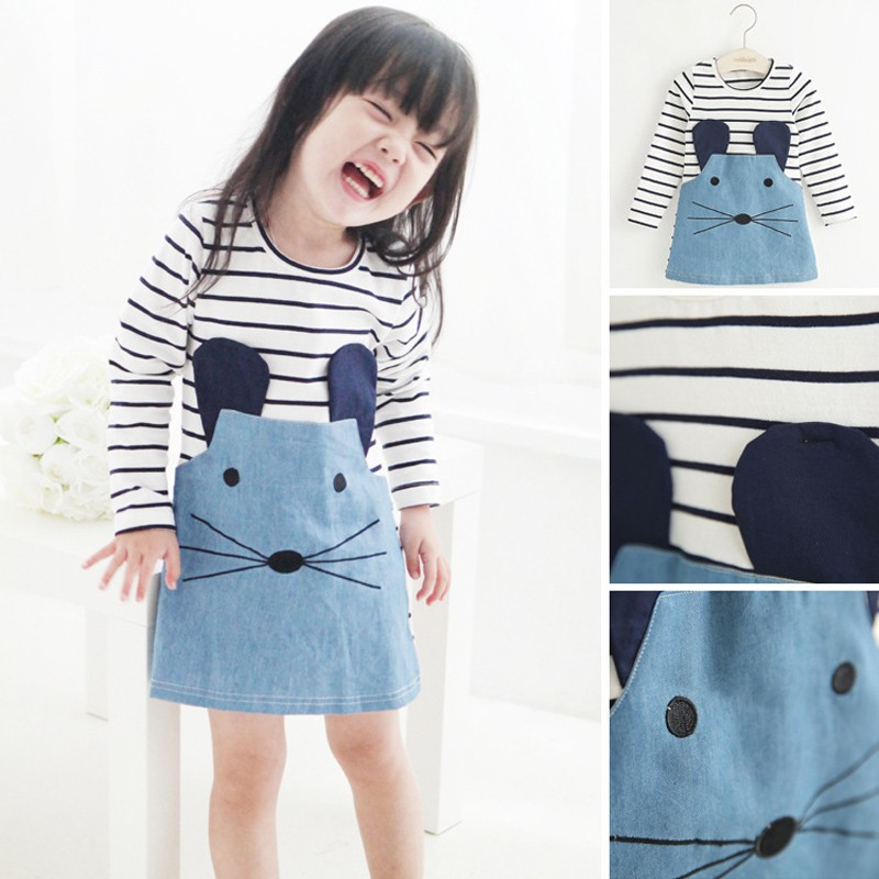 New Striped Patchwork Character Girl Dresses Long Sleeve Cute Mouse Children Clothing Kids Girls Dress Denim Kids Clothes 2pcs children outfit clothes kids baby girl off shoulder cotton ruffled sleeve tops striped t shirt blue denim jeans sunsuit set