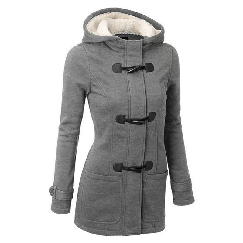 Fashion Women   Trench   Coat 2018 Spring Autumn Women's Overcoat Female Long Hooded Coat Zipper Horn Button Outwear Female
