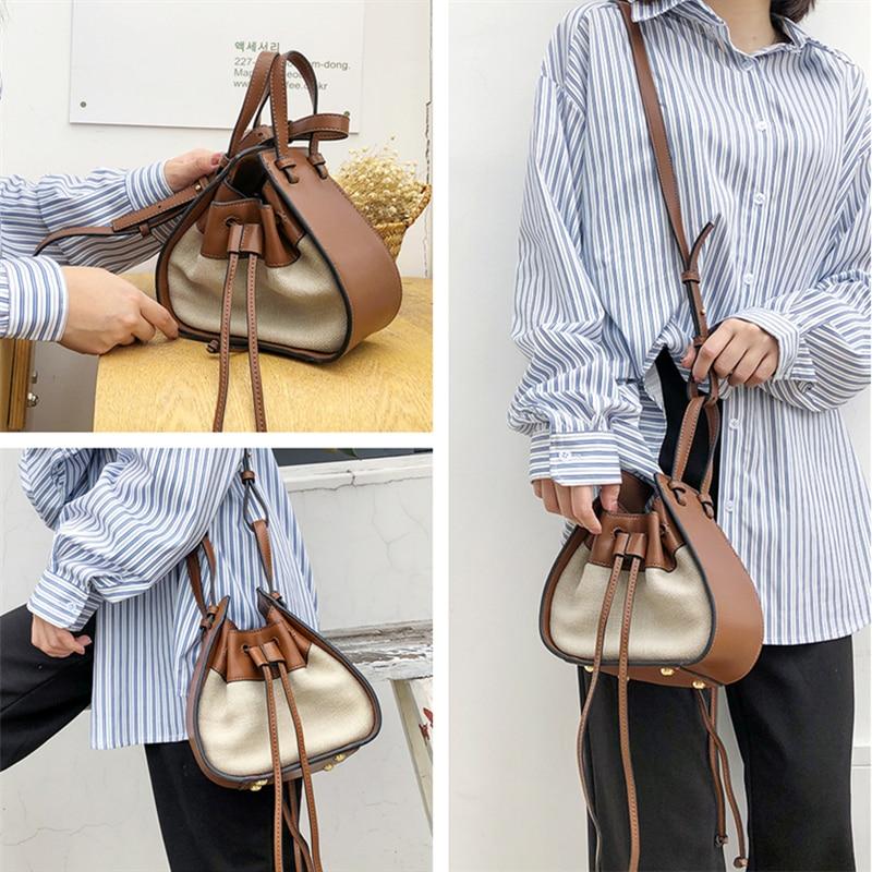 Burminsa Unique Design Mini Drawstring Bucket Women Bags Patchwork Ladies Handbags Female Shoulder Messenger Bags Summer 2019