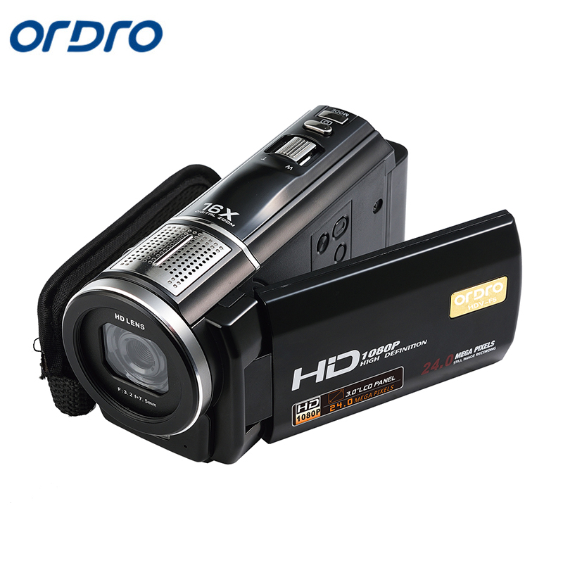 Ordro HDV-F5 Protable  Digital Video Camcorder DVR  HD 1080P 16X Zoom 3Touch Screen 24MP Resolution Support Wireless remote