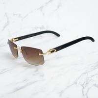Retro Rimless Sunglasses for Men Buffalo Horn Glasses for Summer Luxury C Deco Sun Glasses for Driving Fishing Wholesale Shades