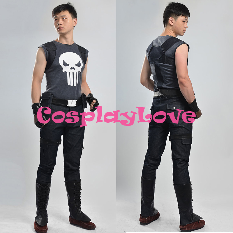 New Custom Made High Quality America Movie Punisher Frank Castle Cosplay Costume For Halloween SuperHero