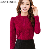 Autumn Winter Plus Size 5XL Lace Ruffled Collar Thick Women Blouses Long Sleeve Crochet Blouse Blouses