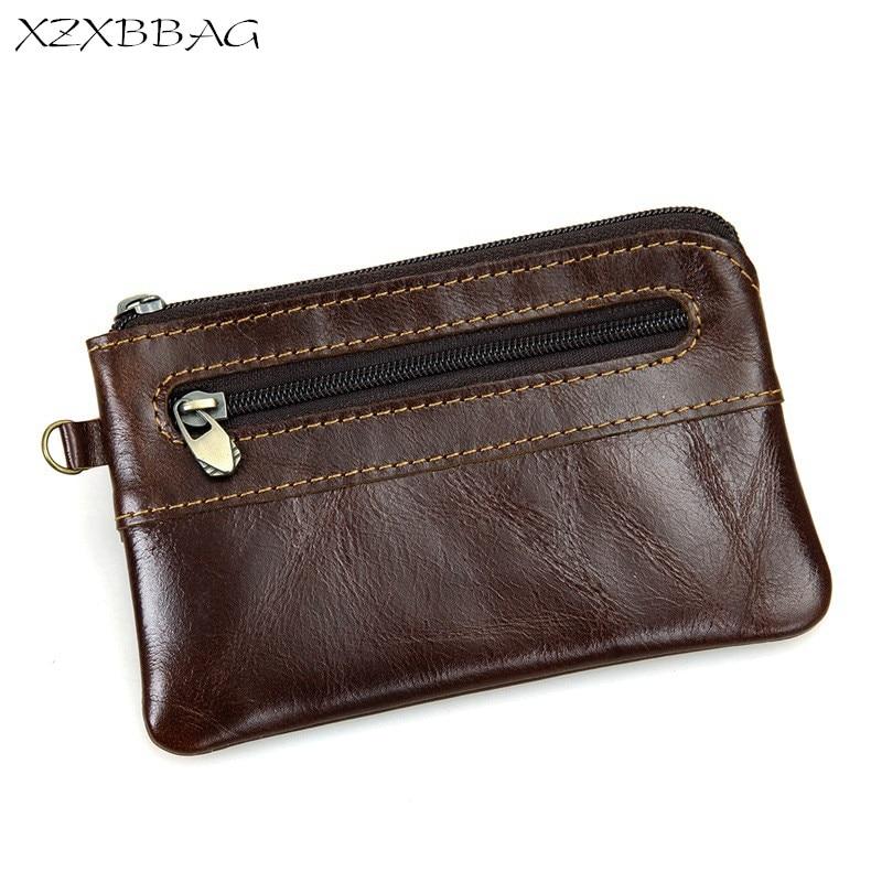 XZXBBAG Genuine Cowhide Coin Purse Men Retro Zipper Pouch Genuine Leather Male Change Purse Money Bag Mini Zero wallet XB011 цена 2017