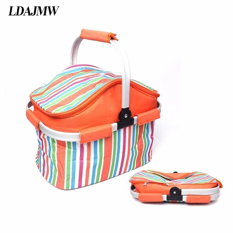 LDAJMW Insulated Food Storage Bag Outdoor Picnic Cooler Bag Barbecue Preservation Basket Folding Fresh Keeping Cooler Bag