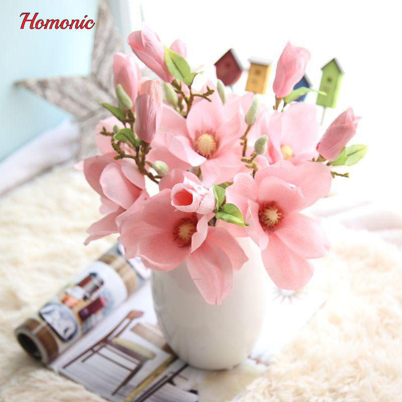 Thai quality 2heads/bouquet silk Magnolia flower artificial ...