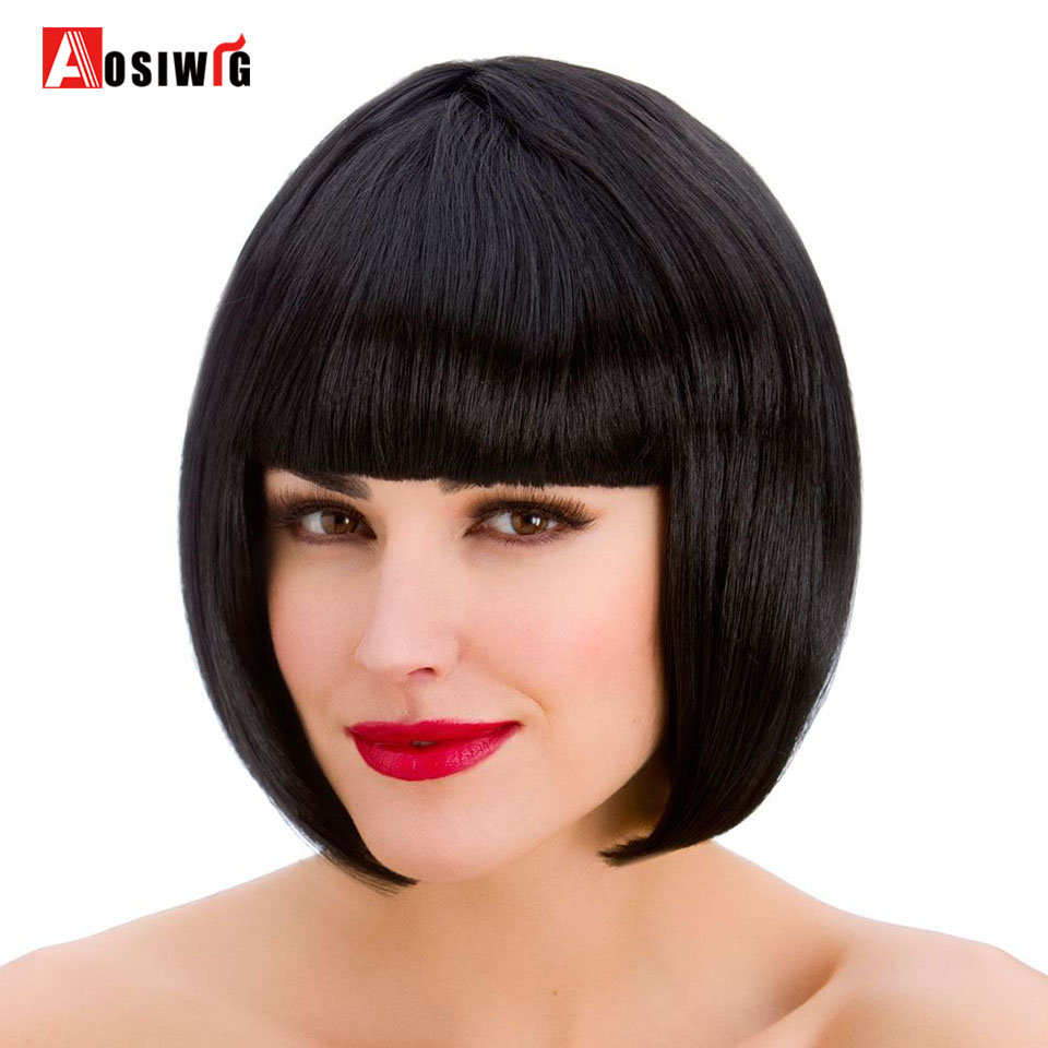 AOSI WIG Black Short Straight Bob With Bangs Cosplay Party Heat Resistant Synthesis Wigs Everyday For Women