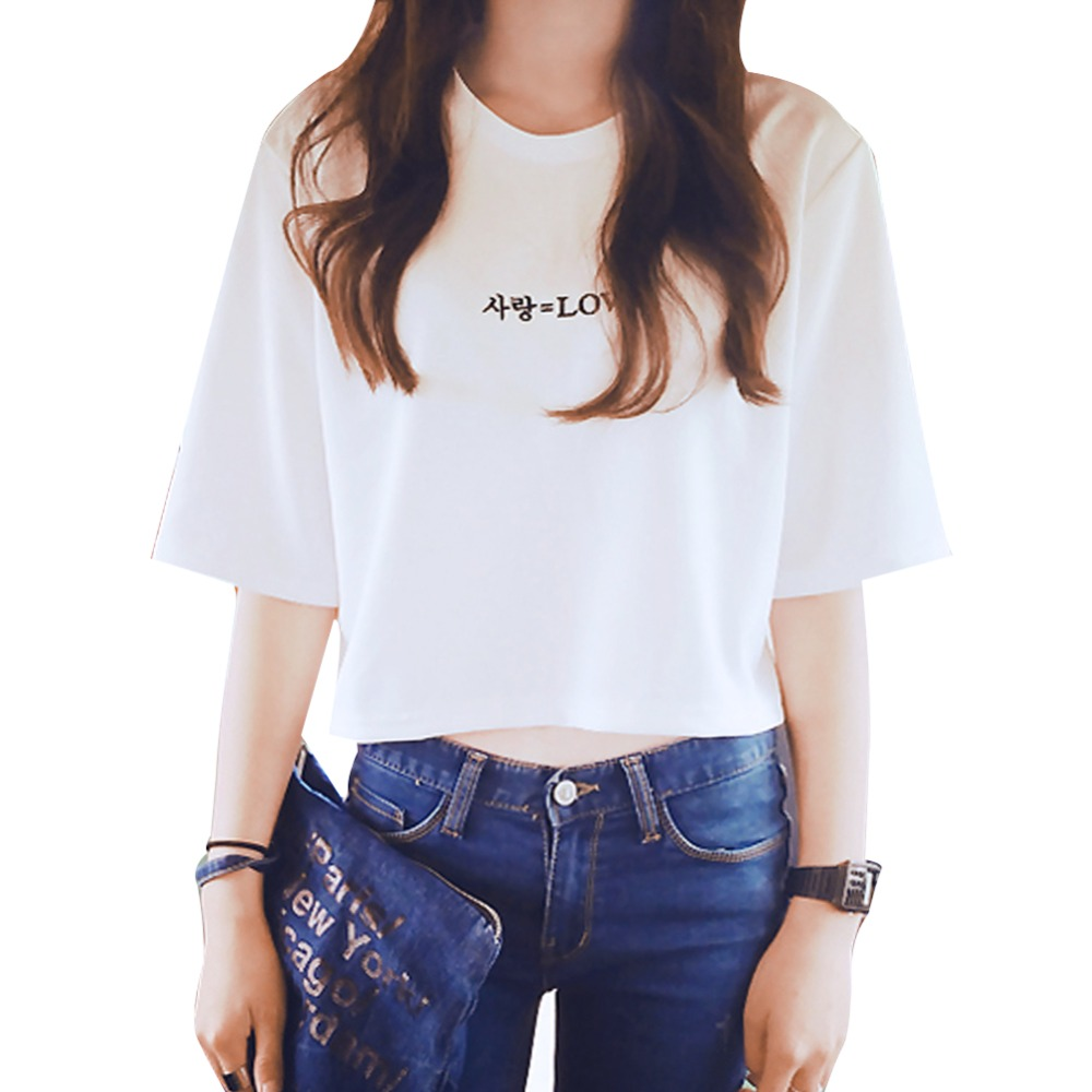 2018 Korean New Summer Cotton T-shirt Women CropTops Letters Printed White Shirts Casual Short Sleeved Street Clothes Ladies Top