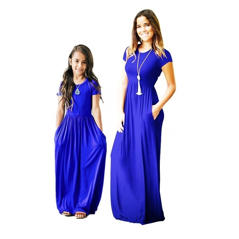 Women's Short Sleeve Loose Plain Maxi Dresses Casual Long Dresses with Pockets 1