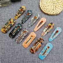 Ubuhle 2019 New Acrylic Hair Jewelry Hollow Water Drop Rectangular Clips Women Hairpins Barrettes Headband Accessories