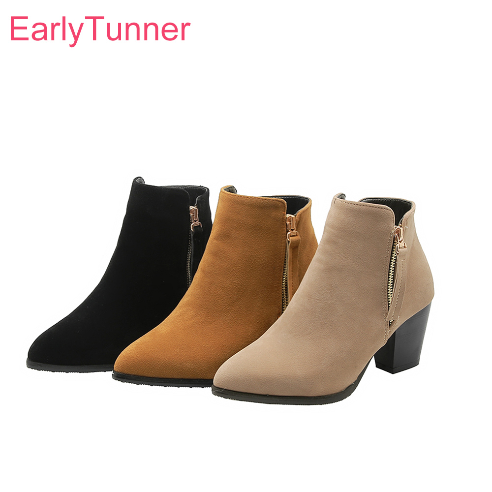 Winter Brand New Sweet Black Apricot Women Ankle Boots Fashion High Heels Lady Nude Shoes EB133 Plus Big Size 10 32 43 46
