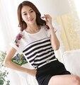 2016 summer women's casual printing striped blouses blusas femininas women plus size chiffon blouses Striped fashion women shirt