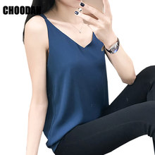 Chiffon Tank Top Summer Women Tops 2019 New Korean Style Sleeveless Top Camisoles V-neck Spaghetti Ladies Tanks For Female(China)