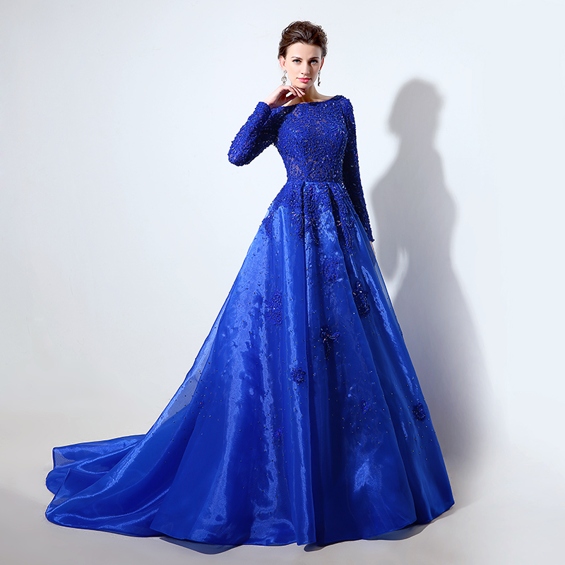 Long Sleeve Royal Blue Lace Bodice Ball Gown Evening Dresses with Beading  Crystal Organza Zipper Back Pageant Party Gowns LX045-in Evening Dresses  from ... 30ed873f3a67