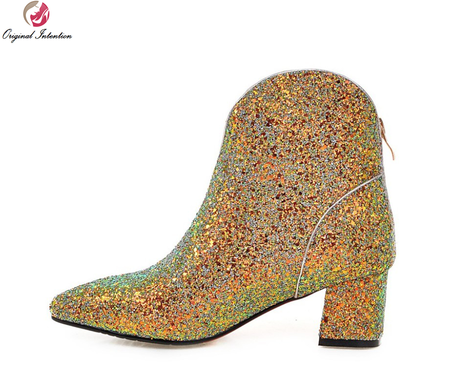 Original Intention Women Ankle Boots Glitter Pointed Toe Square Heels Boots  Black Green Gold Silver Shoes Woman Size 4-10.5 3901ee0c5b1b