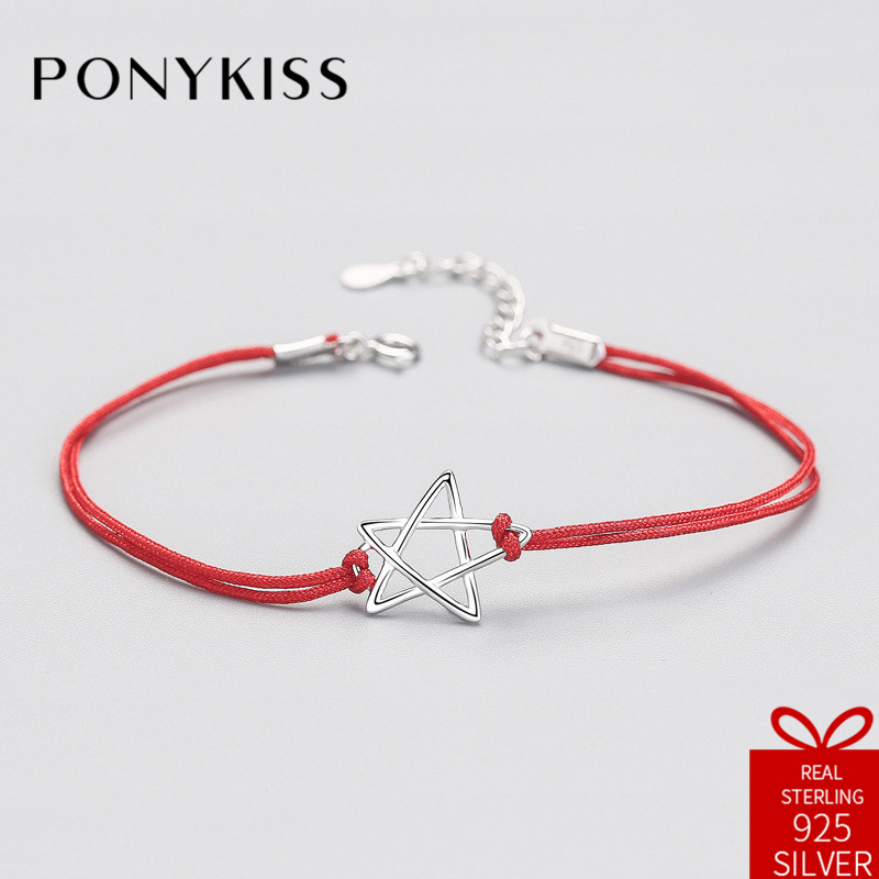 PONYKISS Ethnic 100% S925 Sterling Silver Star Red Rope Charm Bracelets Fine Jewelry Women Creative Anniversary Party Gift