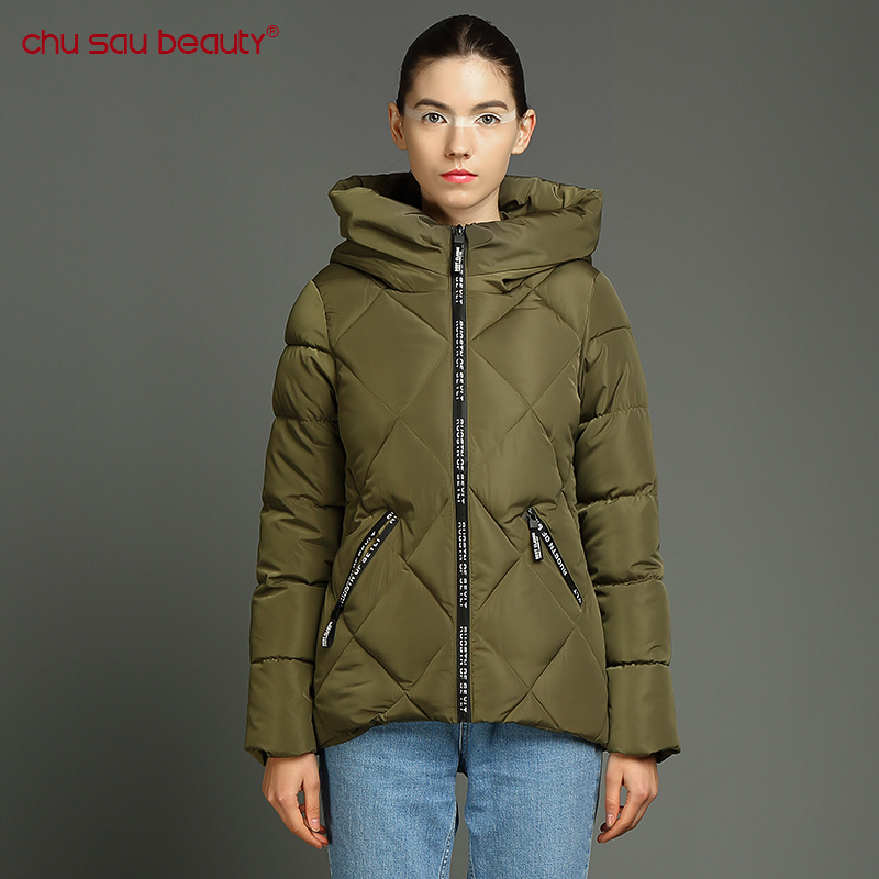 ChuSaubeauty 2017 Autumn Winter Jacket Women Slim Hooded Thick Cotton Padded Coat Casual Warm Parka winter