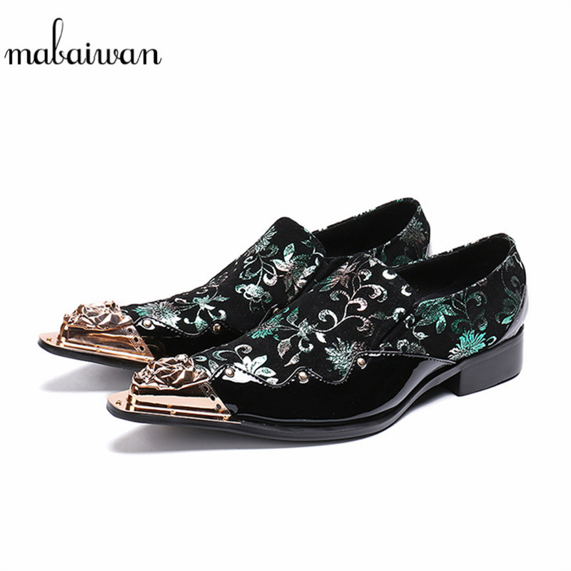 Mabaiwan Casual Men Shoes Luxury Metal Toe Floral Party Wedding Dress Shoes Men Handmade Leather Banquet And Prom Loafers Flats luxury pointed toe rivet casual shoes england designer party and banquet men loafers fashion young man walking street shoes