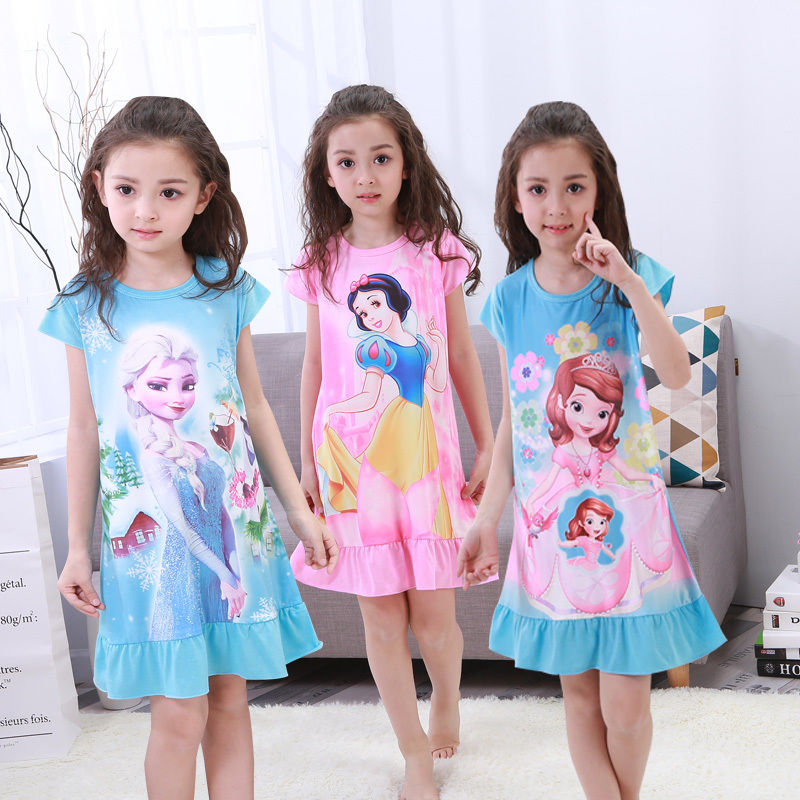 new-listing-2019-children-pajamas-summer-dresses-girls-baby-pajamas-cotton-princess-girl-nightgown-home-cltohing-girl-sleepwear