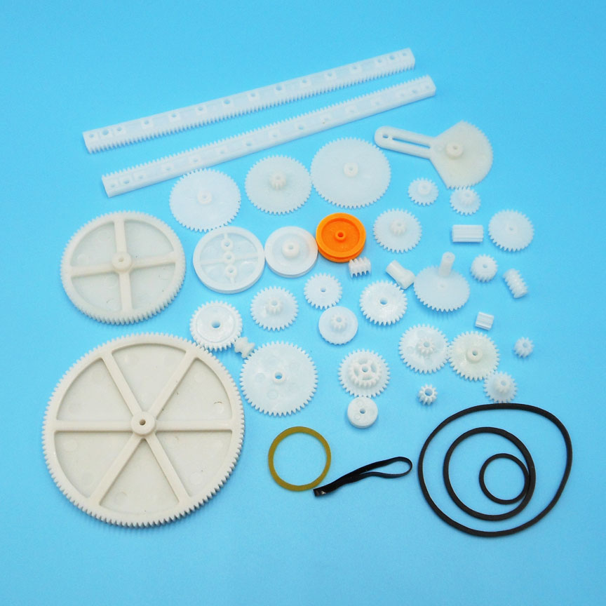 MIX34 Kinds Of Gear Bag Toy Model Gear Rack Reduction Worm Belt Pulley Plastic Gear Pack 34pcs/pack