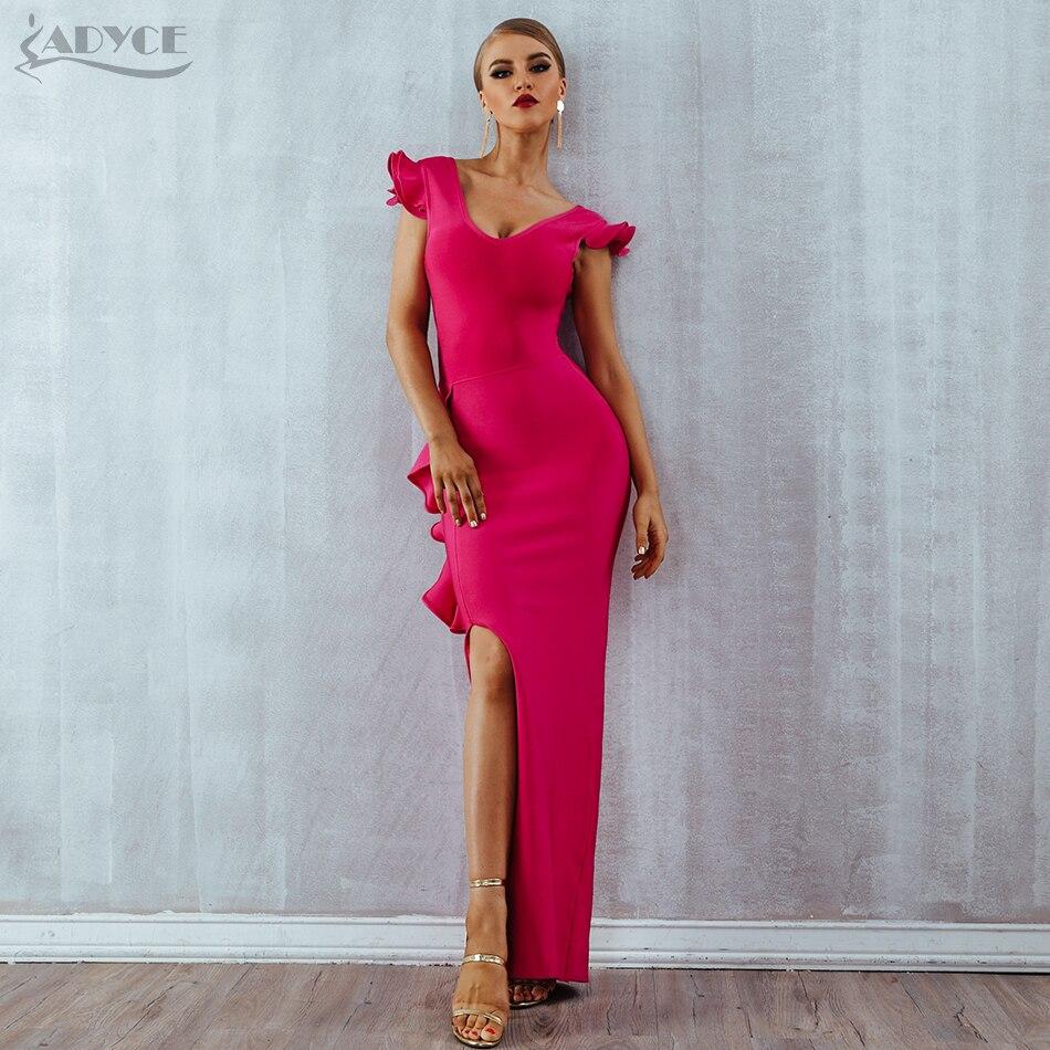 ba006508d Celebridad Sin Mujeres Mangas Rose Vestido Fiesta Verano Maxi Vendaje Club  Rosa Sexy Vestidos Ajustado Red Nuevo ...
