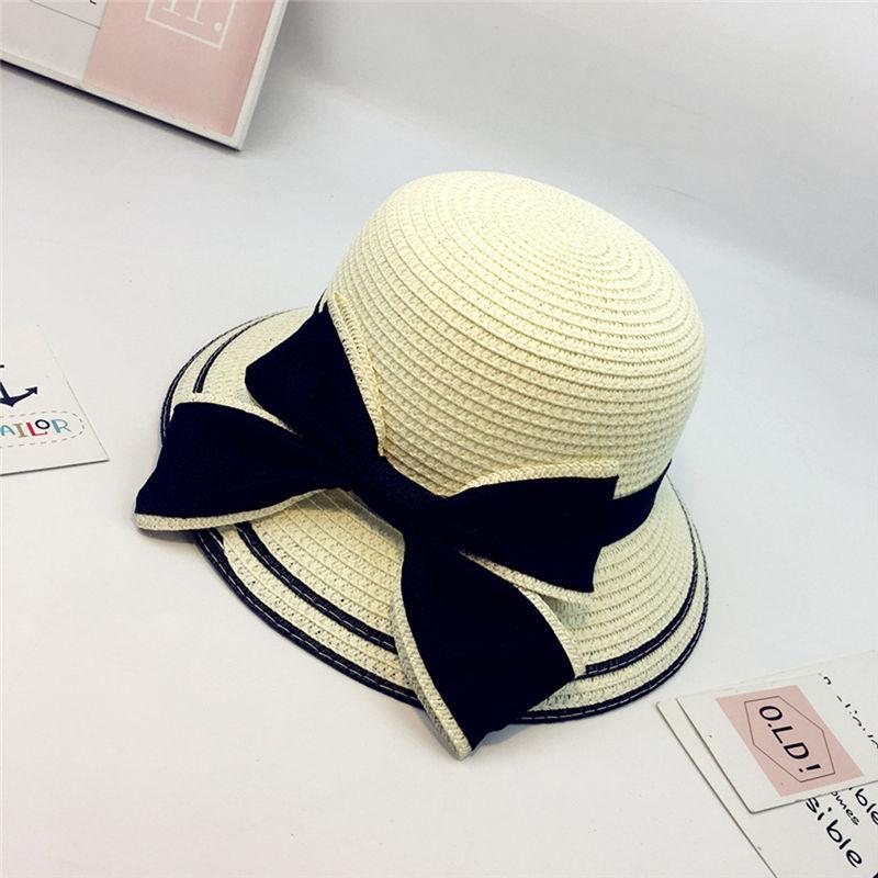 New Women Summer Parent-child Women Casual Daily Baby Kids Girl Beach Bow Straw Flat Brim Sun Hat Cap #4F09 (11)