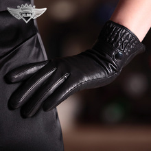 Business Style Women Genuine Leather Gloves Top Quality Goatskin Warm  Winter Fashion Solid Color 825