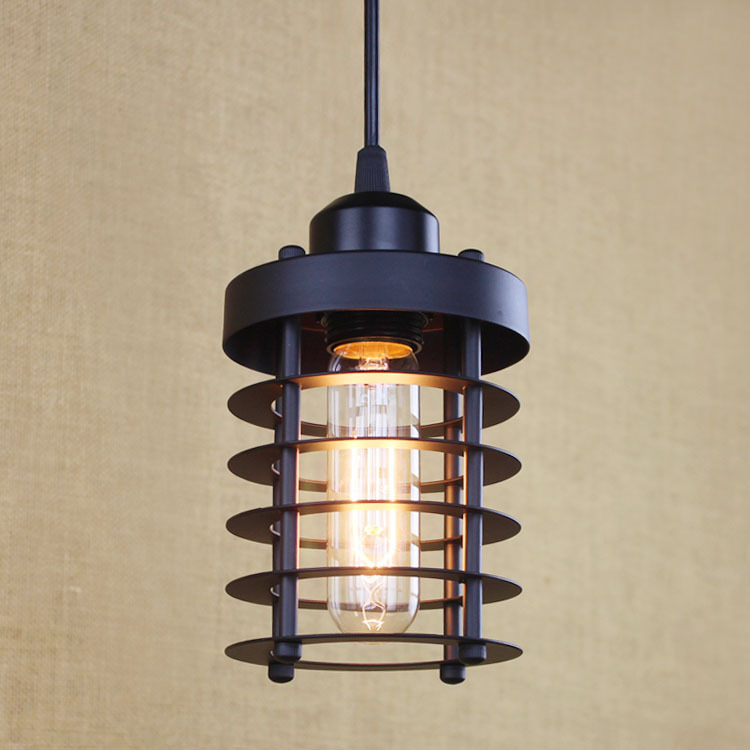 Vintage Black Pendant Light Industrial Loft Retro Droplight Cafe Restaurant American Style Hanging Lamp E27 Edison WPL095 loft edison vintage retro cystal glass black iron light ceiling lamp cafe dining bar hotel club coffe shop store restaurant