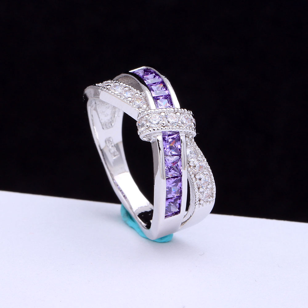 Rings: amethyst cross finger ring for lady paved cz zircon luxury hot Princess women Wedding Engagement Ring purple pink color jewelry