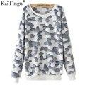 KaiTingu 2016 Brand Fashion Autumn Long Sleeve Tracksuit Women Hoodies Harajuku Grey Grid Flannel Pullover Sweatshirt Plus Size