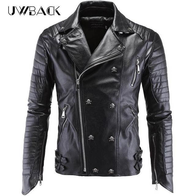 Uwback 2017 New Winter Leather Jacket Men Plus Szie 5xl Skull Motorcycle Leather Jackets Male jaqueta couro Leather Coat CAA091