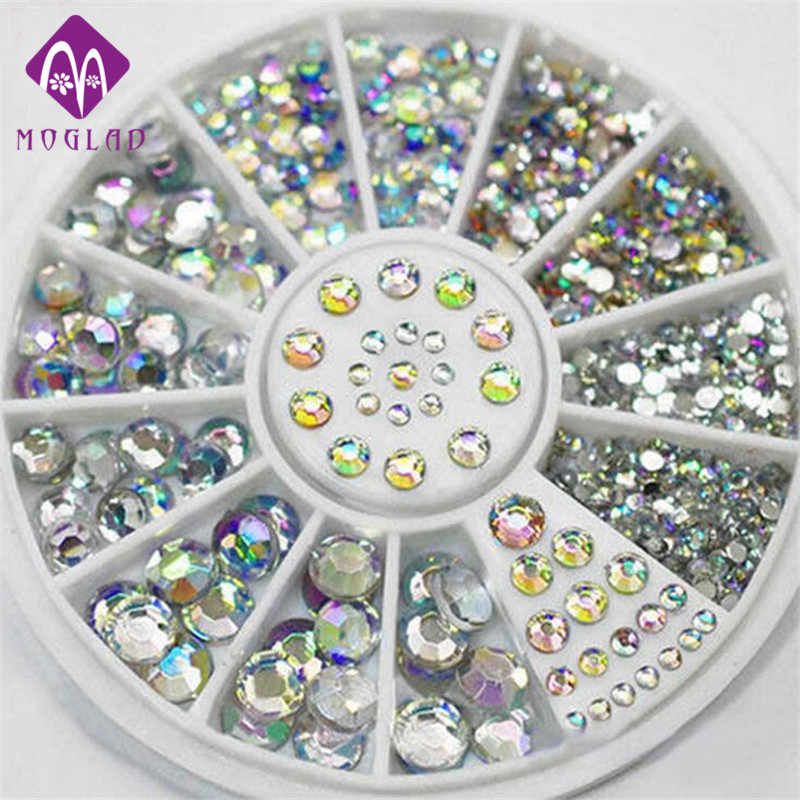 Hot sale Nail rhinestone decoration 5 sizes flat back white AB rhinestone nail art wheel decoration