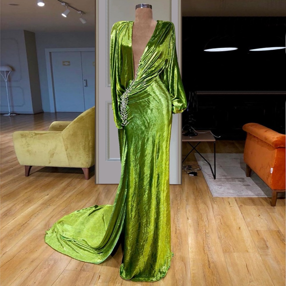 High Fashion Simple Design Formal   Evening     Dresses   Long Sleeve Mermaid Sexy Special Occasion Party   Dresses   With High Split Custom
