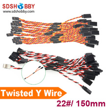 10Pcs Heavy Duty 22 22AWG Servo Twisted Wire Y cable 150mm