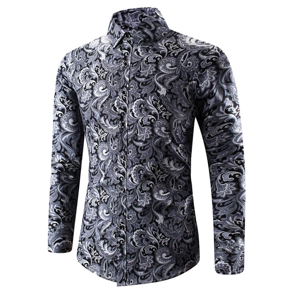 Мужская рубашка с отложным воротником, Весенняя Повседневная рубашка с длинным рукавом и принтом Пейсли Повседневные рубашки      АлиЭкспресс