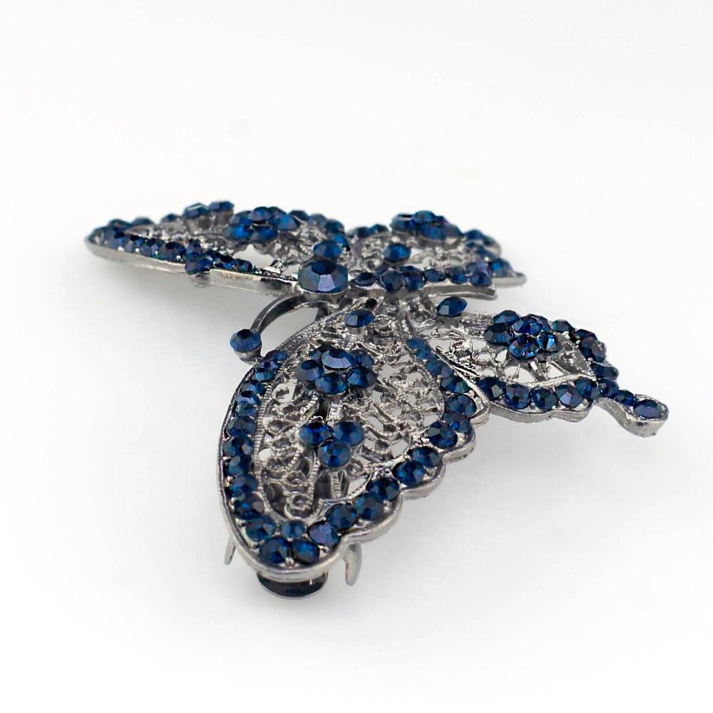Amazing Butterfly Hairpin Mavi Kristal Baş geyimləri Barrette Saç - Moda zərgərlik - Fotoqrafiya 4