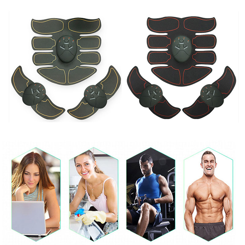6pcs Yellow EMS Abdominal Muscle Trainer Smart ABS Stimulator Sculpting Massager Pad Fitness Gym Body Loss Slimming Massager Kit abdominal muscle trainer abs electrical muscle stimulator ems fitness trainer weight loss body slimming massager with three host