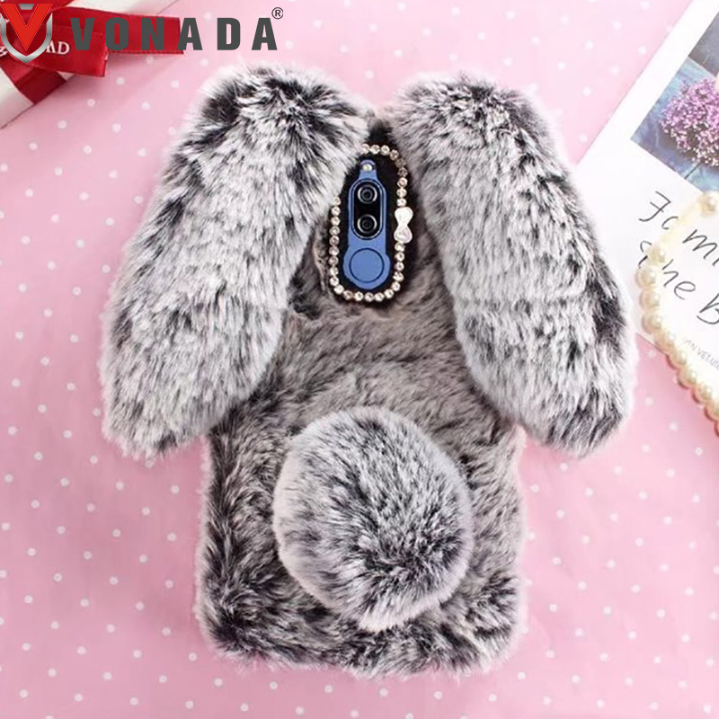Plush <font><b>Case</b></font> for <font><b>Lenovo</b></font> PHAB 2 Plus P1M K5 K6 Note <font><b>C2</b></font> X2 S860 S850 A2010 A536 A6000 P2 3D Rabbit Ears Fur TPU Soft <font><b>Case</b></font> Cover image