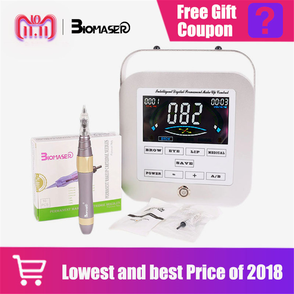 Biomaser Professional Eyebrow Tattoo Machine Pen For Permanent Make Up Eyebrows Microblading Makeup DIY Kit With Tattoo Needle все цены