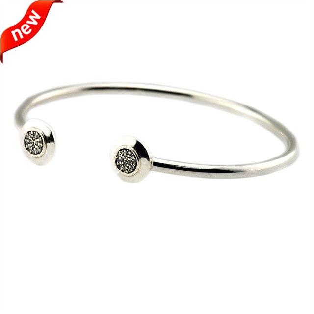 Serve Beads Europeus 925 Prata Esterlina Pulseiras e Braceletes para As Mulheres Jewekry Fazendo Assinatura Prata Pulseira com Clear CZ Novo