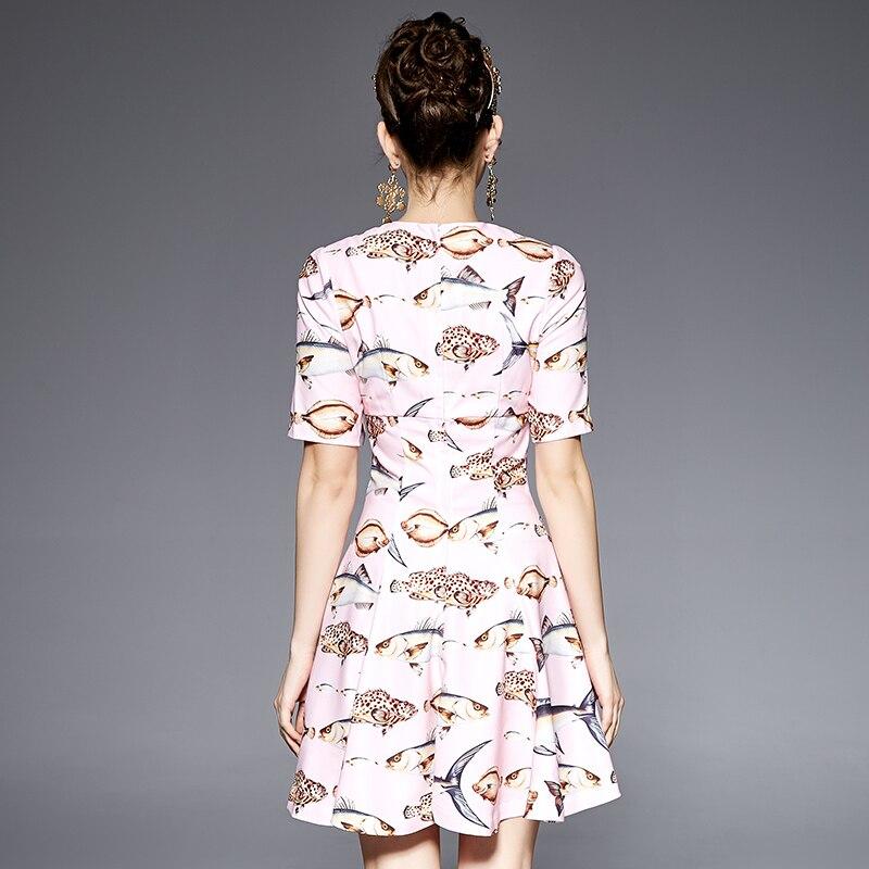 Été 3xs blanc Robes ligne Midi Rose 10xl Taille A Imprimer La Poissons Mode Personnaliser Femmes Plus Casual Printemps q8UTExU