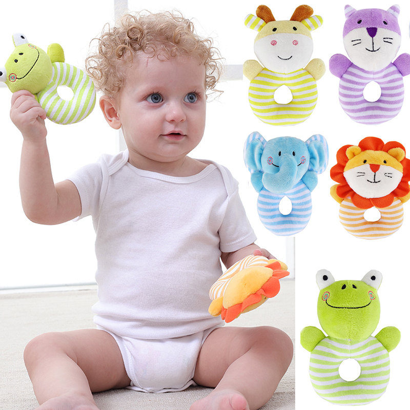 Newborns Infant Baby Toy Kid Plush Soft Toddler Toy Kids Gift Elephant Lion Deer Animal Catoon Hand Bell Ring Rattles