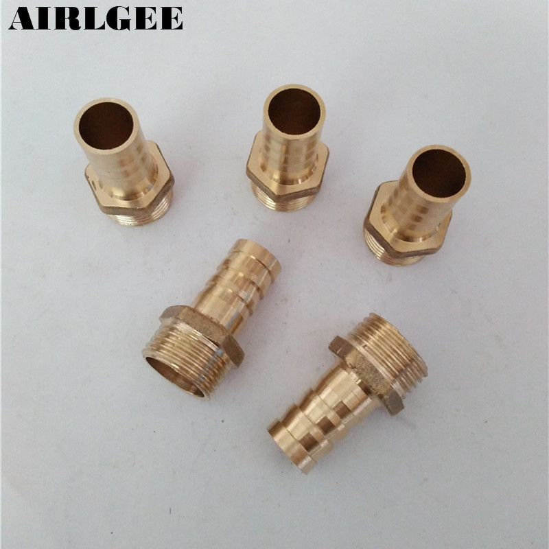 5 Pcs 1/2PT Male Thread to 14mm Hose Barb Brass Straight Coupling Fitting 1 2 pt male thread to 12mm hose barb plastic cover lever ball valve brass tone discount 50