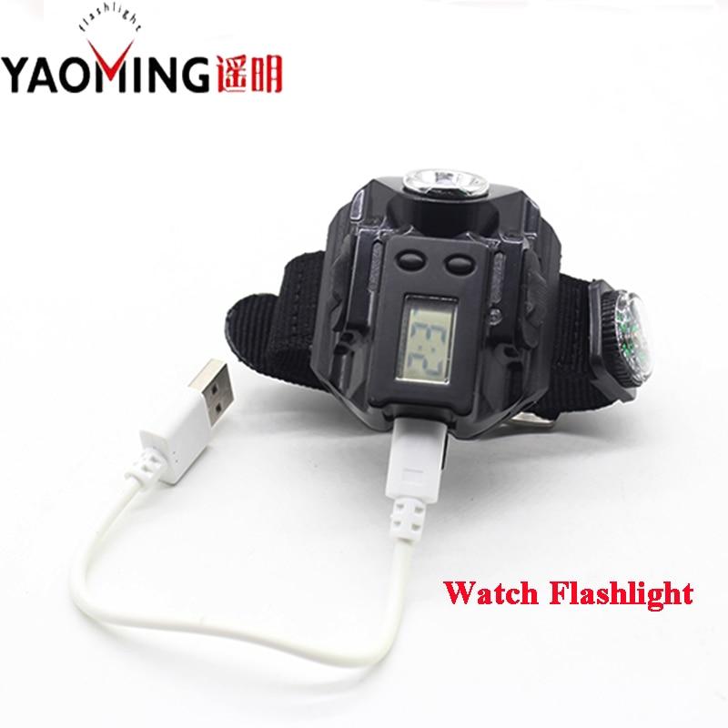 Аккумуляторные часы фонарик фонарь USB - Портативное освещение