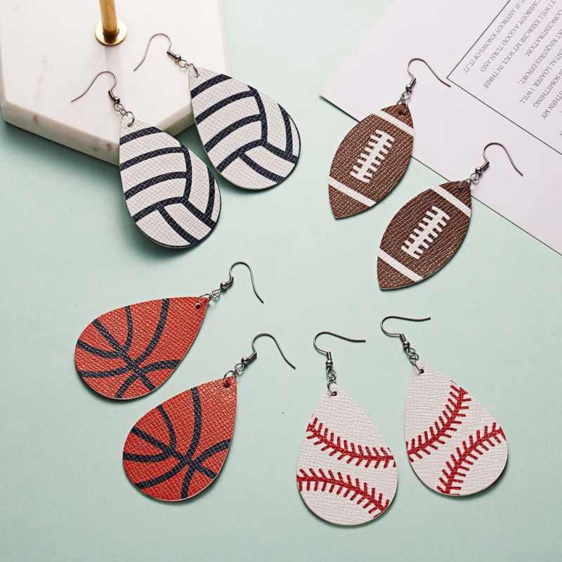 Kreatywny Pu skóra Softball piłka nożna koszykówka wzór druku spadek kolczyki dla kobiet duże Teardrop sport piłka piłka kolczyki biżuteria