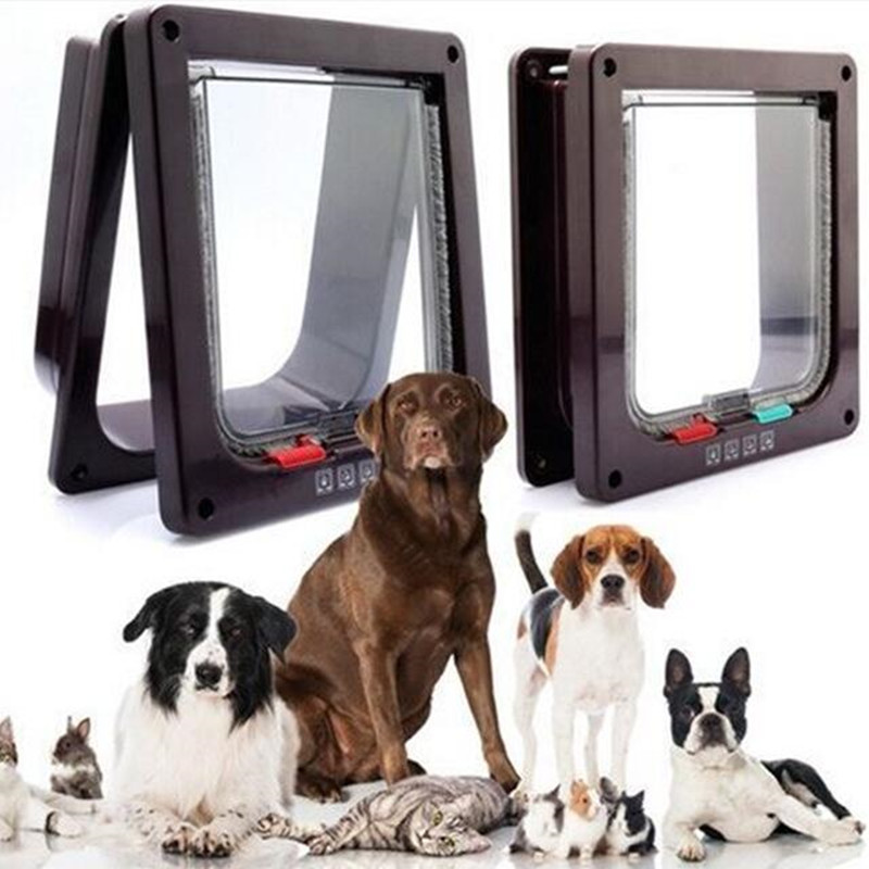 4 Way Lockable Dog Cat Kitten Door Security Flap Door Abs Plastic S/m/l Animal Small Pet Cat Dog Gate Door Pet Supplies