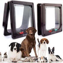 4 Way Lockable Dog Cat Kitten Door Security Flap Door ABS Plastic S/M/L Animal Small Pet Cat Dog Gate Door Pet Supplies(China)